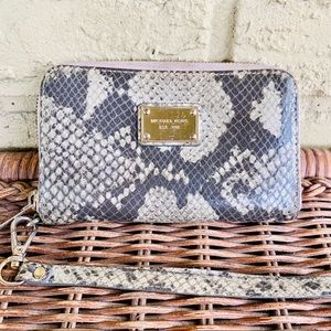 Michael Kors Snake Python Zip Wristlet Wallet
